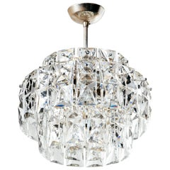Exquisite Mid-Century Modern Faceted Crystal Chandelier, Germany