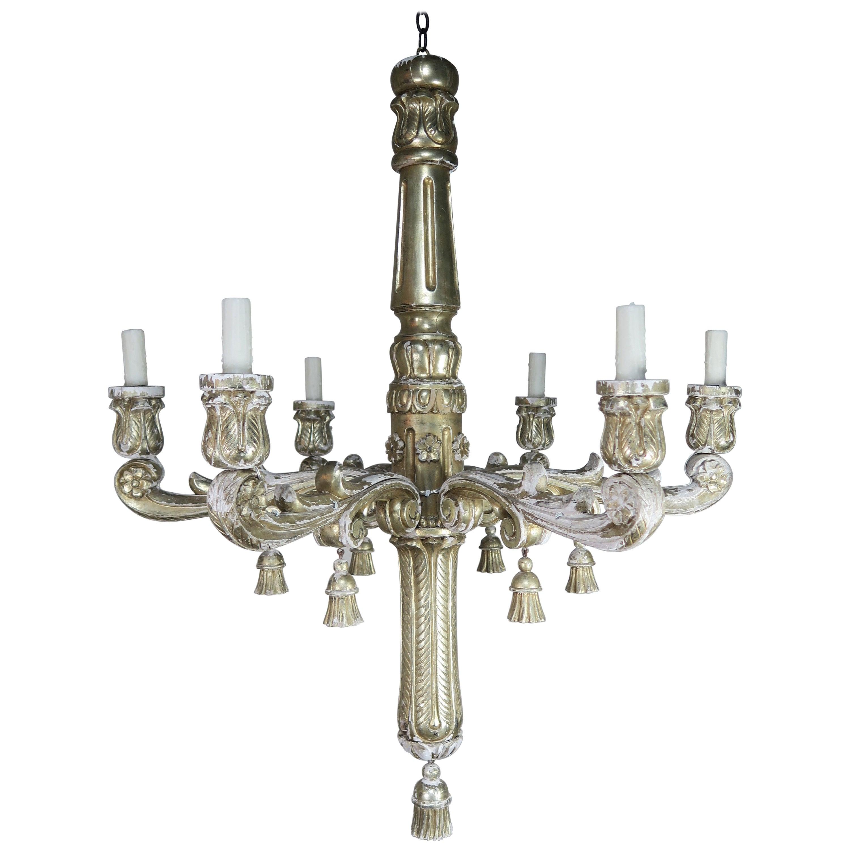 Six-Light Silver Gilt Italian Chandelier with Tassels