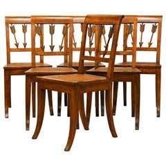 Six Early 19th Century Italian Neoclassical Fruitwood Arrow Back Klismos Chairs