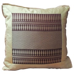 Vintage Silk Burgundy and Gold Woven Textile Square Decorative Pillow