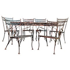 Gothic Modernist Style Wrought Iron Table and Chairs
