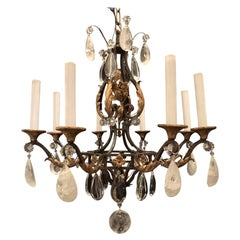 Wonderful French Bagues Rock Crystal Gilt Iron Flower Leaf Bouquet Chandelier