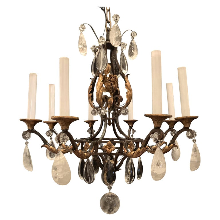 Wonderful French Bagues Rock Crystal Gilt Iron Flower Leaf Bouquet Chandelier For Sale