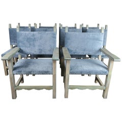 Set of 10 Spanish Painted Walnut Dining Chairs with Aqua Velvet Upholstery