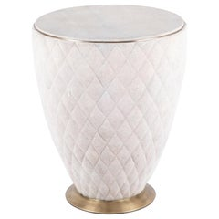 Coco Stool in Cream Shagreen and Bronze-Patina Brass by Kifu Paris