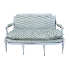 18th-19th Century French Louis XVI Style Painted and Upholstered Settee