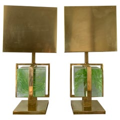 Murano Italian Green Apple Glass Block Brass Lamps