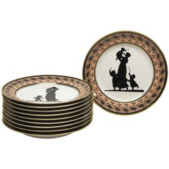 Set of Ten Mottahedeh Silhouette Dessert Plates