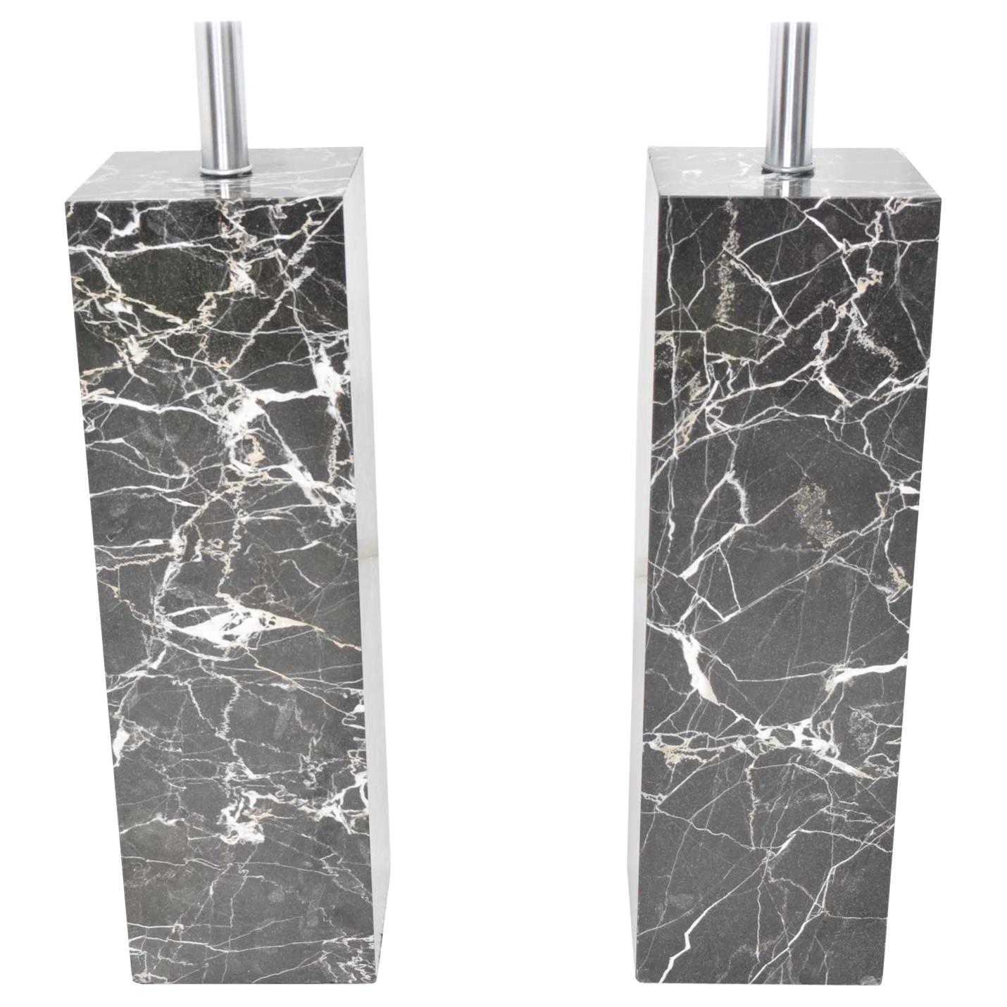 Pair of Marble Table Lamps by Nessen Studio