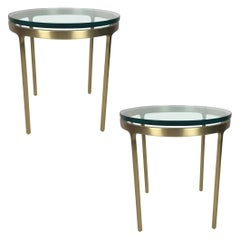 Pair of Brass Side Tables by Nicos Zographos