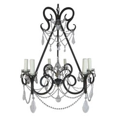 Six-Light Rock Crystal Wrought Iron Chandelier