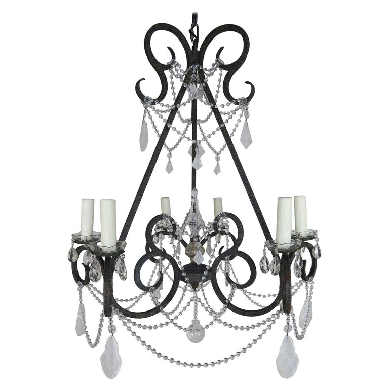 Six-Light Rock Crystal Wrought Iron Chandelier For Sale
