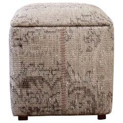 Custom Made Vintage Kilim Rug Cube Ottoman