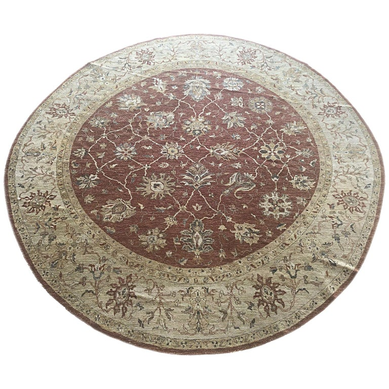 Indian Hand Knotted Rust Floral Mahal Design Rug For Sale
