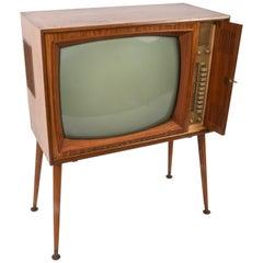 Vintage Tv Graetz Burggraf, 1960s Wooden Floor Television, Midcentury
