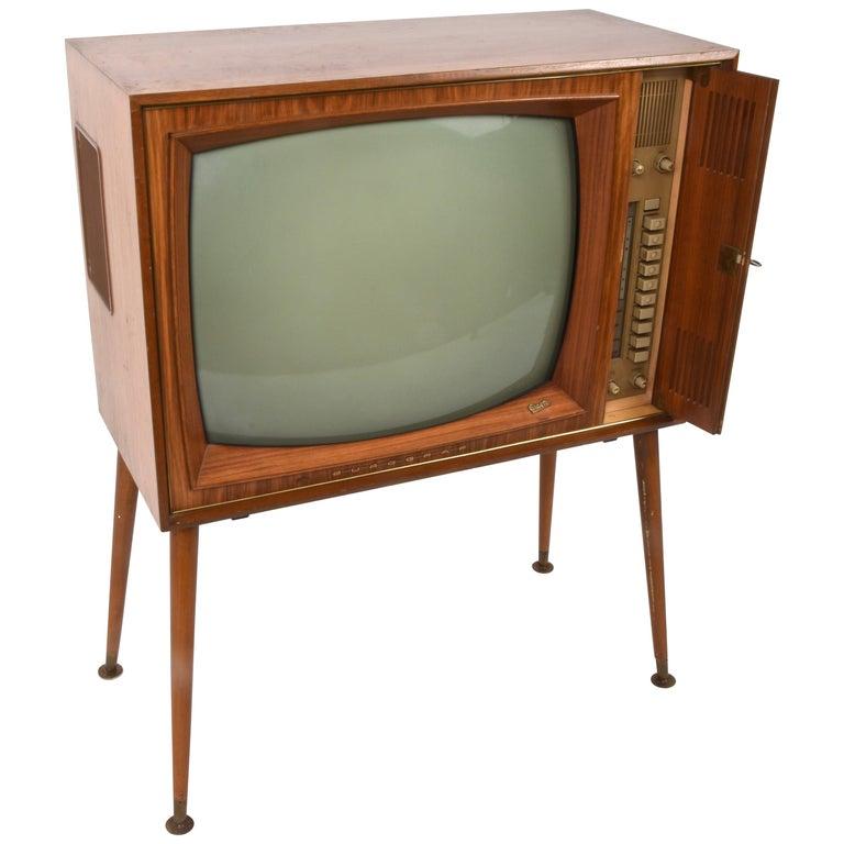 vintage tv graetz burggraf  1960s wooden floor television