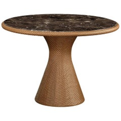 Outdoor Rattan Dining Table with Emperador Dark Marble Top