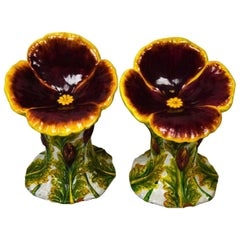 Italian Glazed Terracotta Flower Garden Chairs