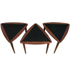 Three Walnut Nesting Tables by Arthur Umanoff