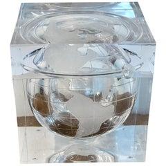 Midcentury Lucite Globe Motif Ice Bucket