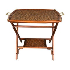 Vintage Bamboo Cane Rattan Tray Table Set Nightstand Bar Cart Maitland Smith