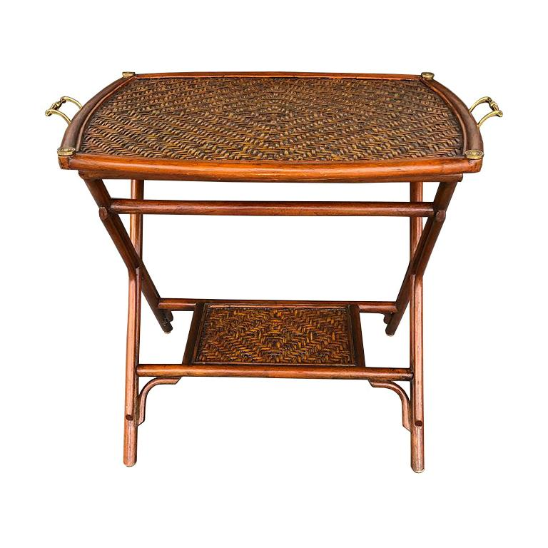 Bamboo and Cane Tray Table with removable Top Maitland Smith Philippines 1970s  For Sale