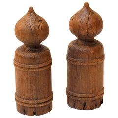 Meiji Period Wood Giboshi, Japanese Bridge Ornaments