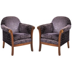 Upholstered Hand Carved Velvet Patterned Snakeskin Chairs