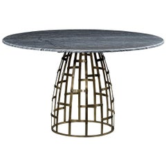 Outdoor Brass Dome Dining Table with a Grey Marble Top