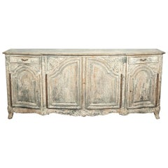 Early 1900s Antique French Country Louis XV Style Painted Enfilade Buffet