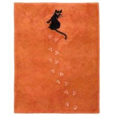 Postmodern Hilton McConnico for Toulemonde Bochart Black Cat Rug, 1980s, France