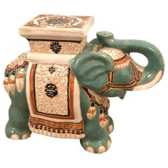 Hollywood Regency Chinese Yade Green Elephant Garden Plant Stand or Seat