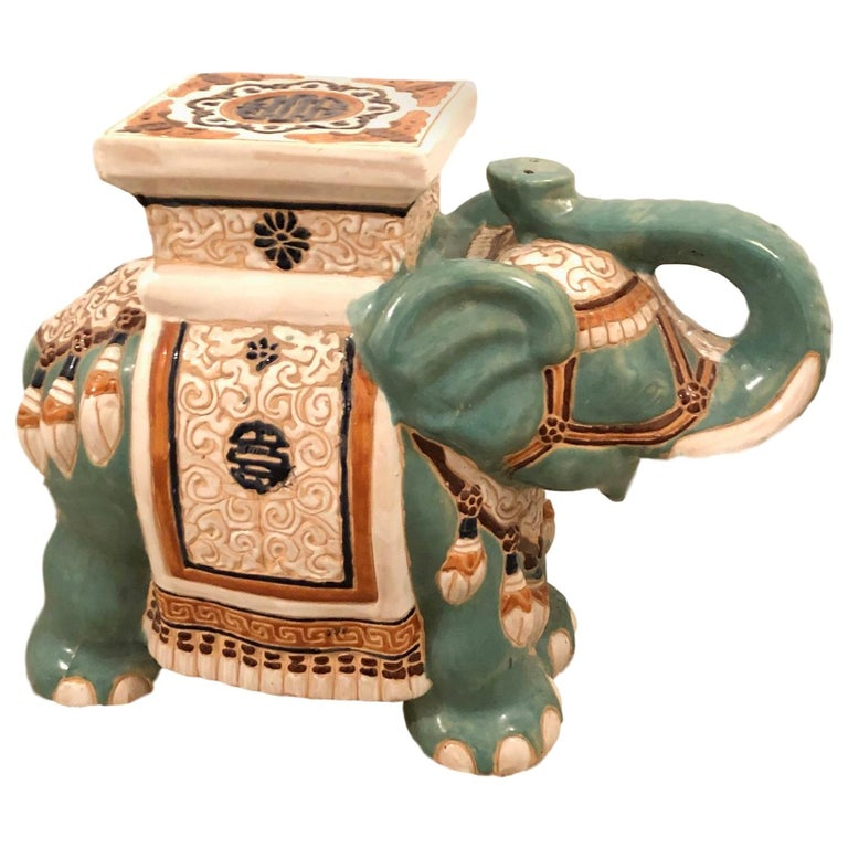 Hollywood Regency Chinese Yade Green Elephant Garden Plant Stand or Seat For Sale