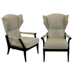 Pair of Stylish Italian Reclining Armchairs