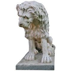 Lion Statue Renaissance Style 'A. Canova Style' France, Mid-20th Century