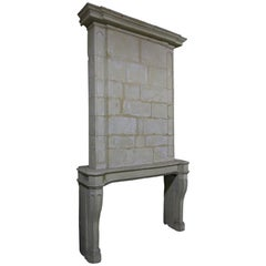French Louis XIV Period Fireplace with Trumeau Limestone circa 1700 Paris-France