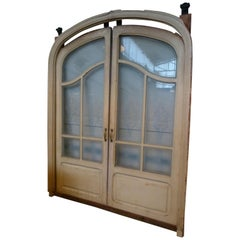 Spanish Art Nouveau Double Sliding Wooden Door