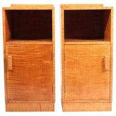Art Deco Bedside Cabinets in Satin Birch
