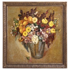 Flower Painting, Signed Folmer Bronnén 1926, Oil on Wood