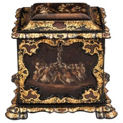 Papier Mâché Painted Antique Gold Leaf Mother of Pearl Jewelry Cabinet