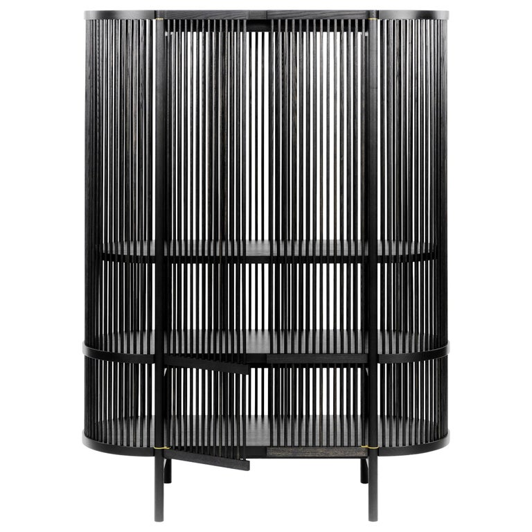 Bastone Cabinet in Black with Doors For Sale