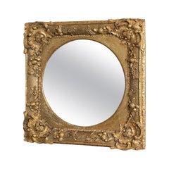 Antique Wall Mirror, English, Victorian, Gilt Gesso Square, Circular, circa 1870