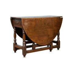 Antique Gate Leg Table Georgian, English, Oak, Country Kitchen Dining circa 1790