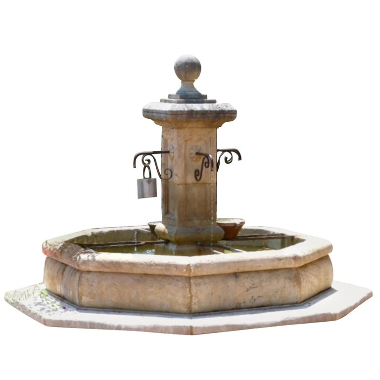 French Louis XIV Style Fountain Hand Carved in Limestone, Provence, France For Sale