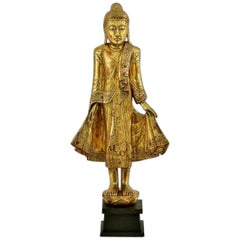 Mandalay Gold Gilded Wood Standing Buddha Statue, Burma, Late 19th Century