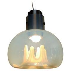 Italian Toni Zuccheri Ceiling Pendant Lamp with Murano Iridescent Glass, 1970s