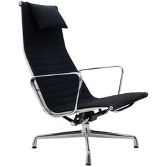 Vitra Eames Ea116 Rotating Swivel Lounge Chair in Black Fabric