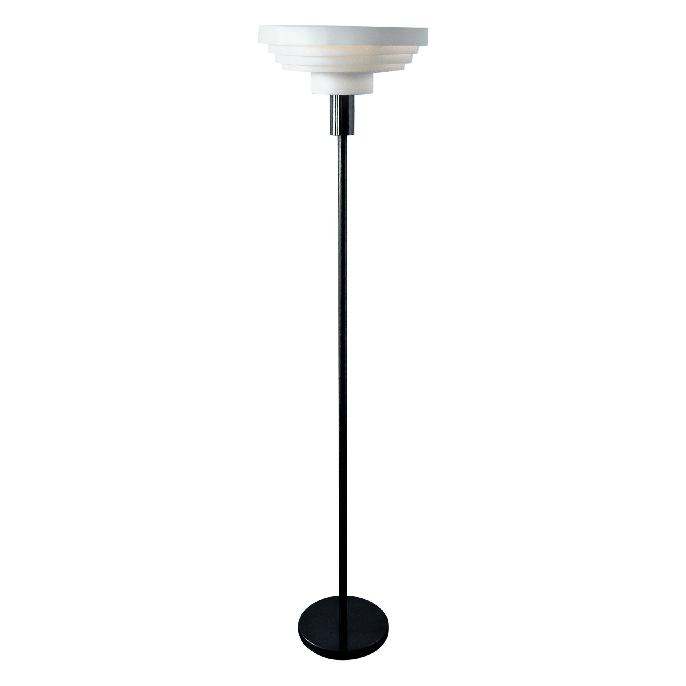 Vintage Floor Lamp with Ringed Shade, 1970s