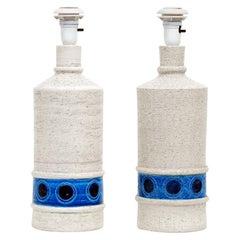Pair of Italian Bitossi Bone White or Lapis Ceramic Lamps