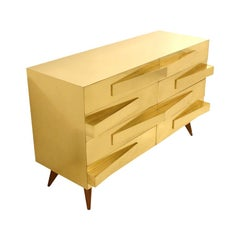 Mid-Century Modern Style Wood and Brass Italian Commode